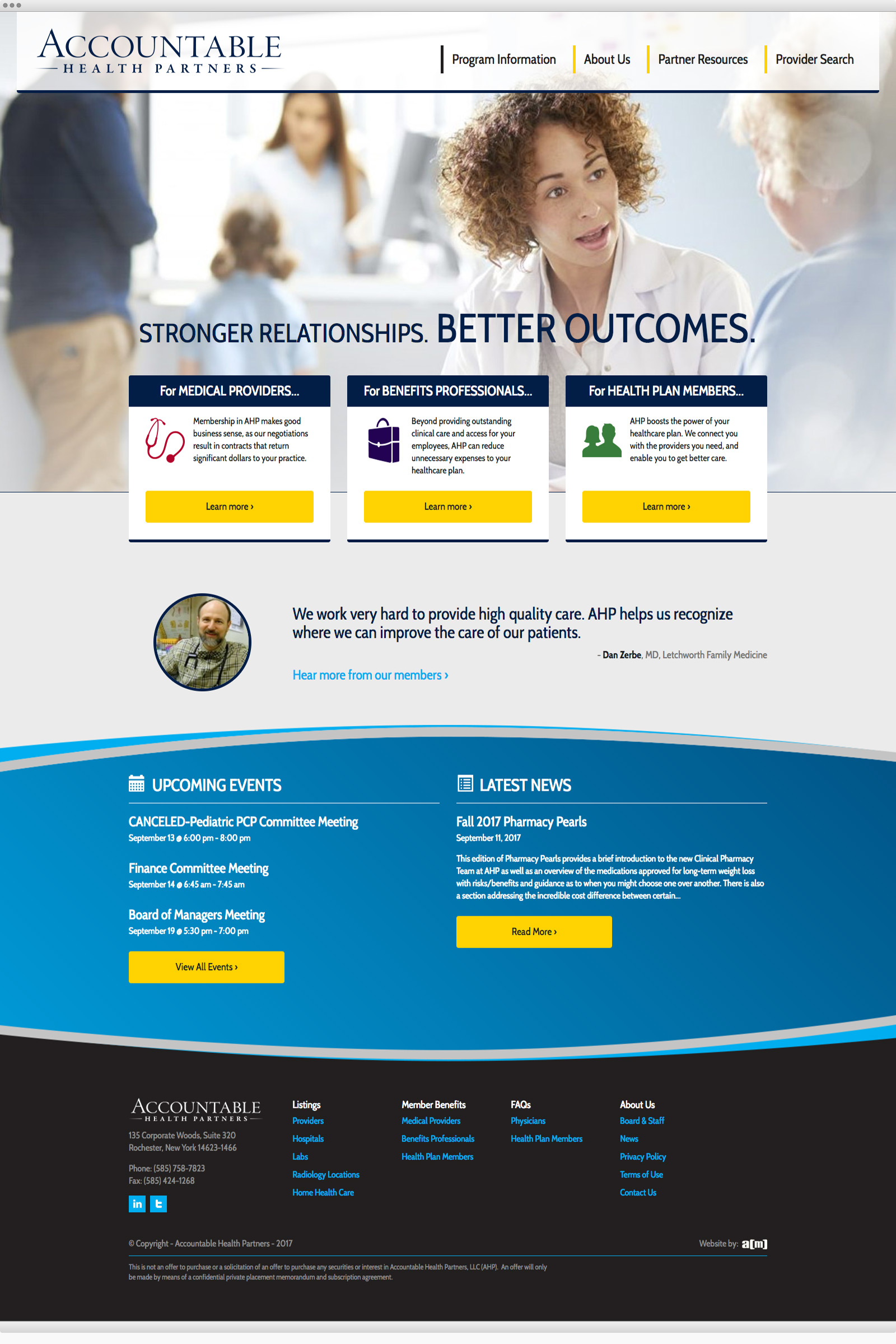 Accountable Health Partners website design