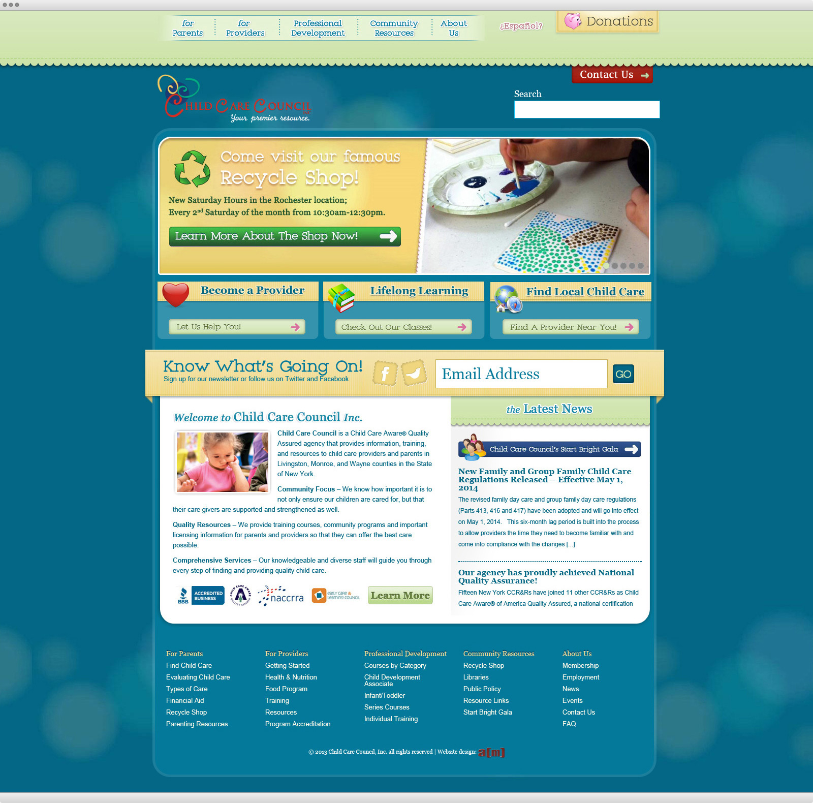 Child Care Council website design