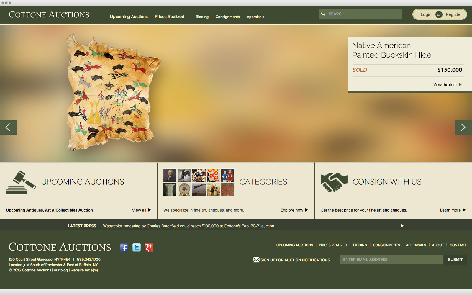 Cottone Auctions website design