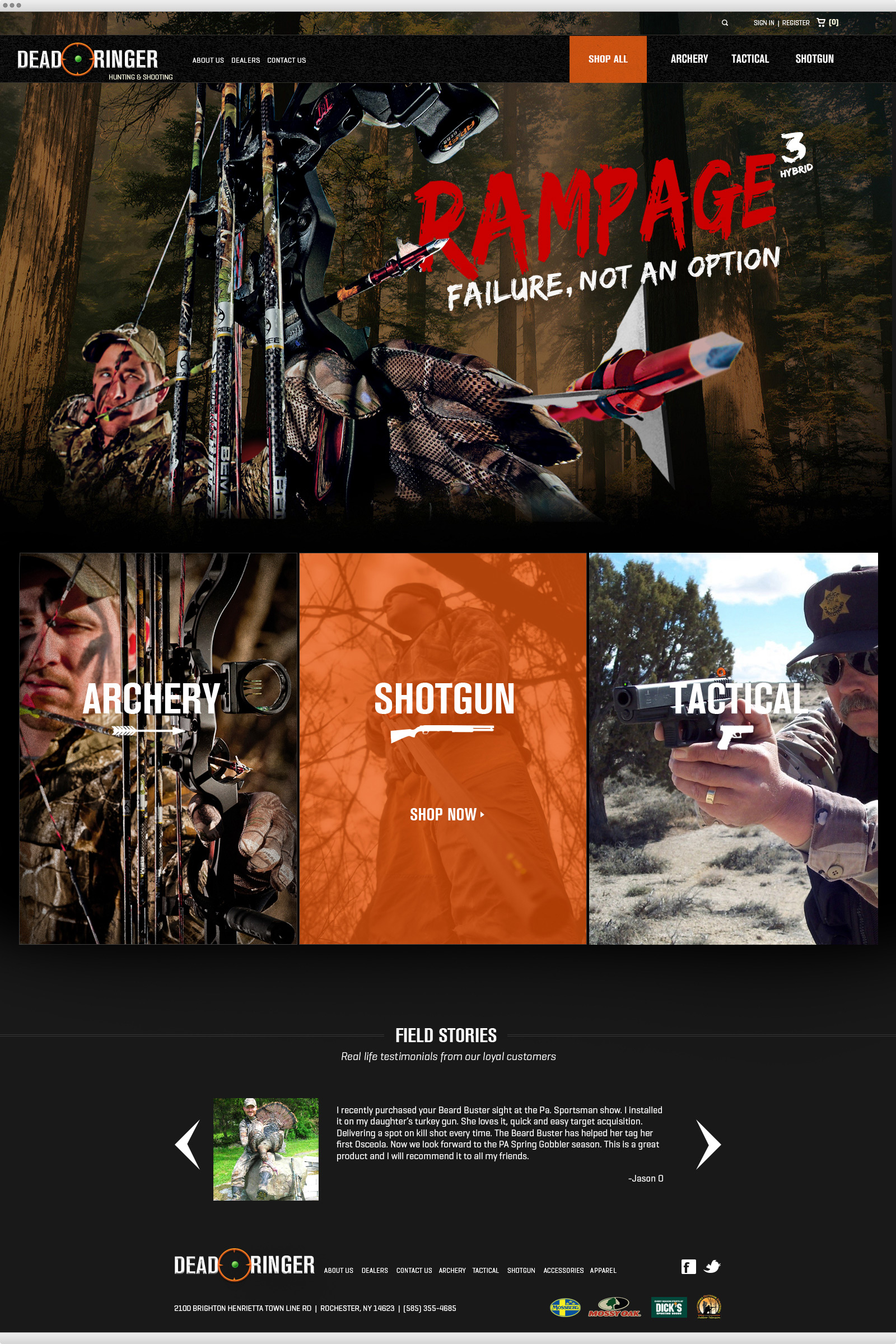 Dead Ringer Hunting website design