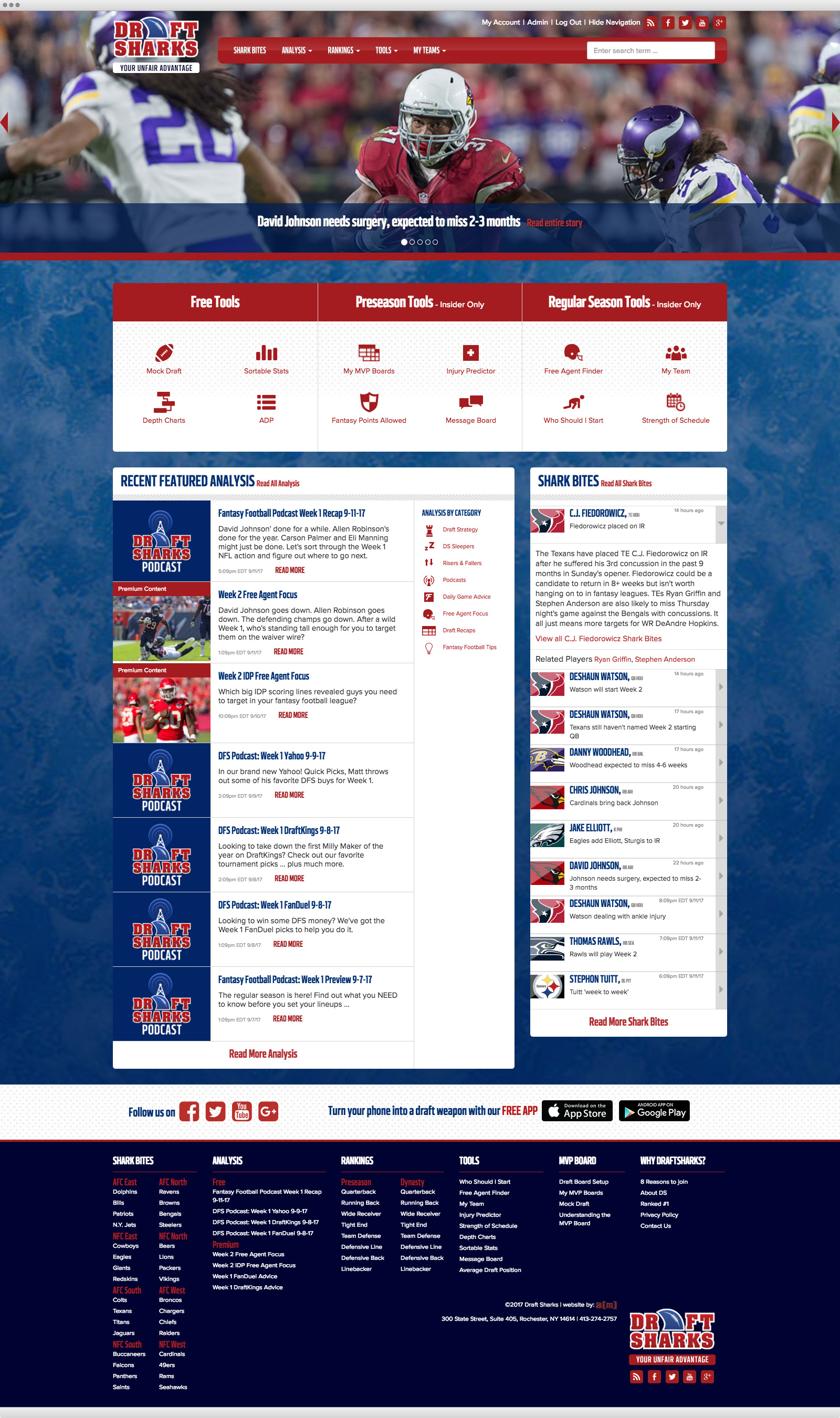 Draft Sharks website design