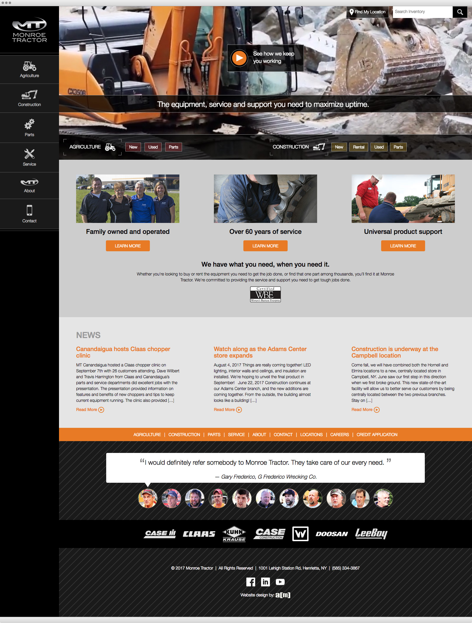 Monroe Tractor website design