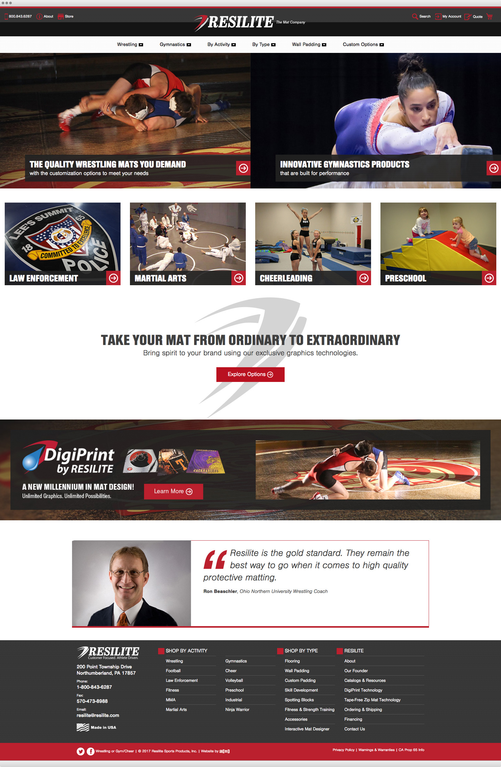 Resilite Sports Products website design