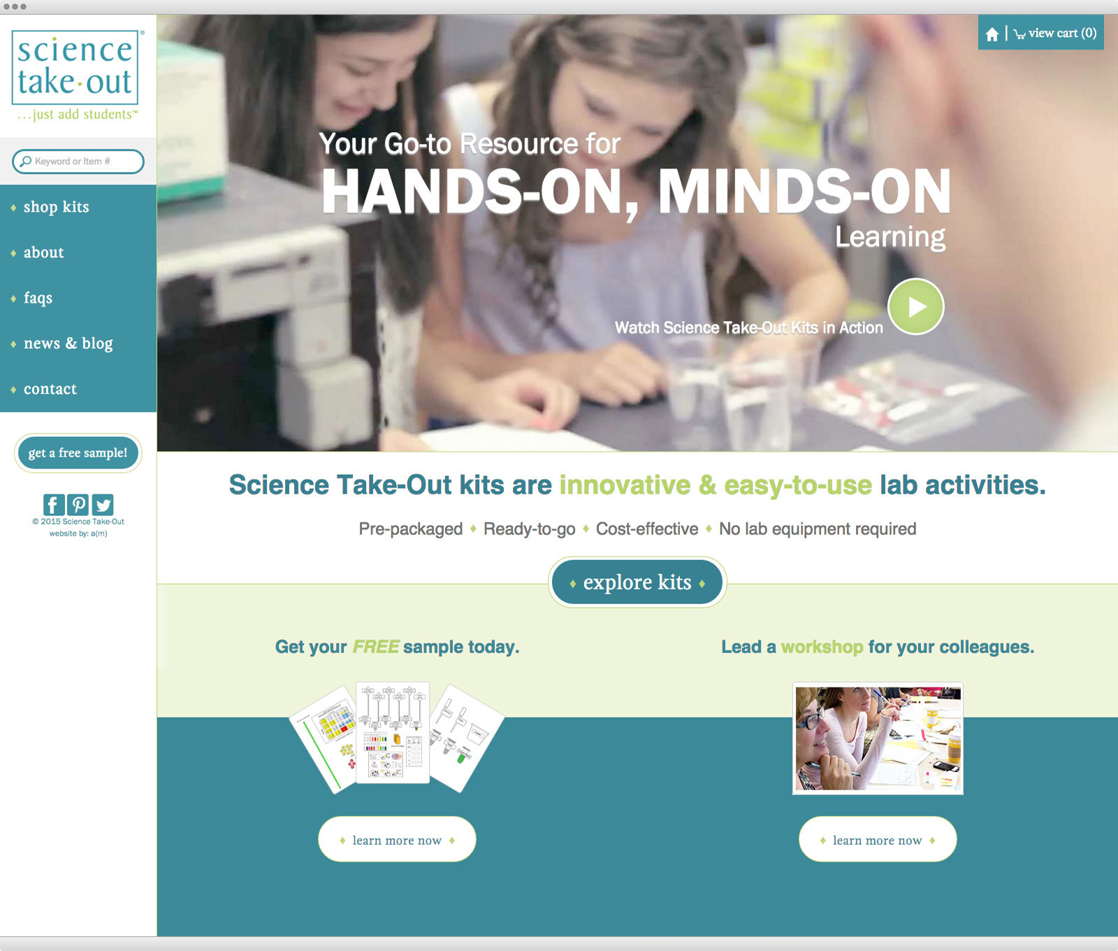 Science Take Out website design