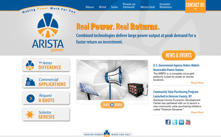 Arista Power Website Branding One