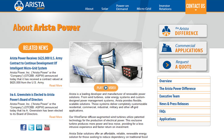 Arista Power Website Branding Two