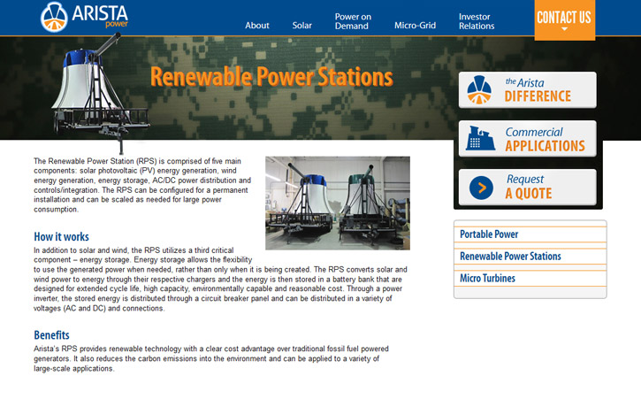 Arista Power Website Branding Three