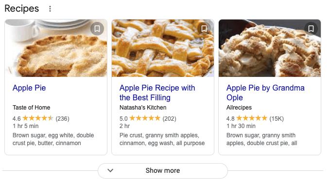 Apple Pie Recipe Search Results